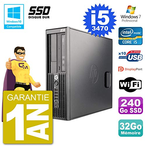HP Z220 SFF Core i5-3470 RAM 32GB SSD 240Go DVD-Brenner W7