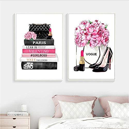 Revista de Moda Impresiones de Arte de Pared Tacones Altos y lápiz Labial Vogue Picture Poster Pink Flowers Canvas Painting Girls Room Home Decor 40x60cmx2 sin Marco