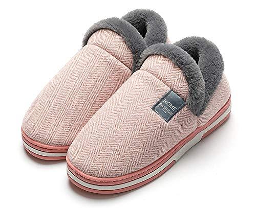 Charm4you Pantofole Inverno Ciabatte Calde Peluche,Pantofole per Uso Domestico in Caldo Cotone Antiscivolo per Interni - Farina di Carne A_40-41,Memory Foam Pantofole