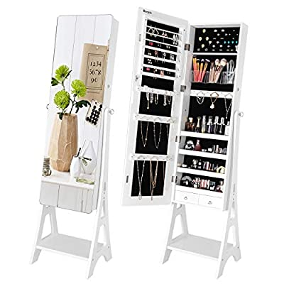 Bonnlo Upgraded Jewelry Armoire with Extra Bottom Shelf, Lockable Freestanding Jewelry Cabinet with Full Mirror, Jewelry Organizer for Home Decor