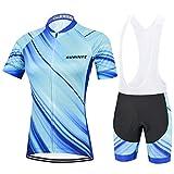 Maillot Ciclismo Mujer, Secado rápido Conjunto Ciclismo con culotes para MTB, Traje Ciclismo Mujer Verano, Azul Claro,...