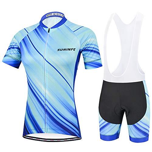 Maillot Ciclismo Mujer, Secado rápido Conjunto Ciclismo con culotes para MTB, Traje Ciclismo Mujer Verano, Azul Claro, M