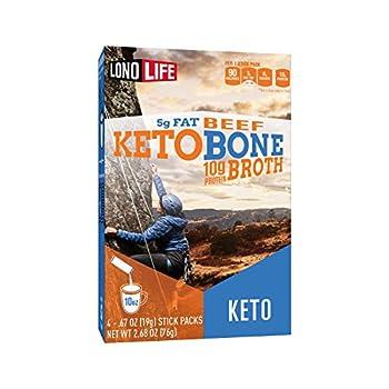 LonoLife Keto Beef Bone Broth Powder 5g fat 10g Protein Paleo and Keto friendly Stick Packs 4 Count