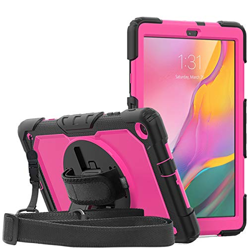 WeeYuu Samsung Galaxy Tab A 10.1 2019 (SM-T510 / T515) High Performance Full Body Cover Case with Built in Kickstand Shockproof Multiple Viewing Angle Black + Rose