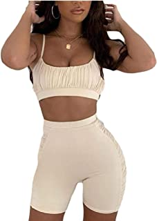 Womens Bodycon 2 Pieces Spaghetti Strap Crop Tank Top Shorts Pants Sets