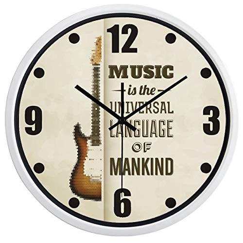Horloge Murale Horloge Murale De Conception De Marque De Guitare Simple pour Horloge De Salle De Musique 14 Pouces B229W