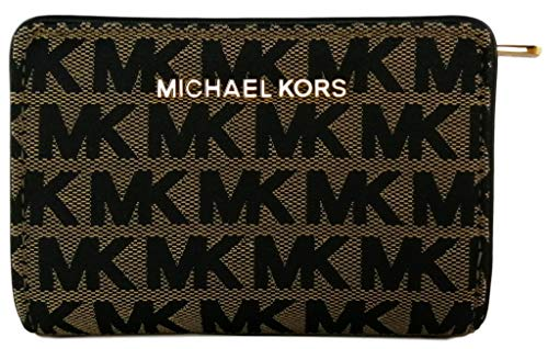 Michael Kors Jet Set Travel Medium Bifold Zip Coin Wallet Jacquard Beige Black Signature