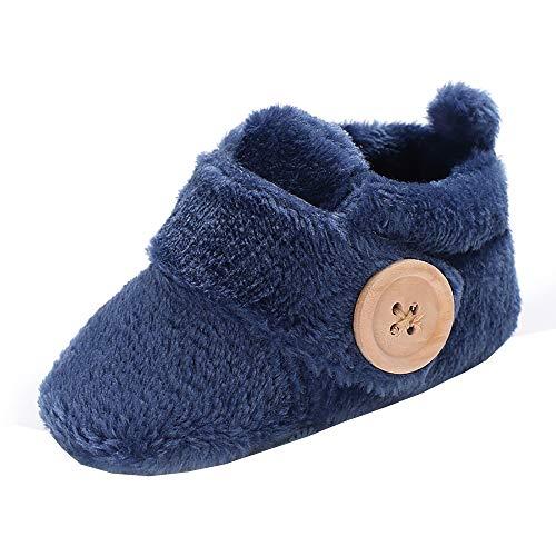 Newborn Baby Girls Boys Slippers Warm Fur Infant Boots Toddler Slip On Booties Navy 6-12 Months