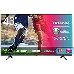 Hisense 43AE7000F, Smart TV LED Ultra HD 4K 43´´, HDR 10+, Dolby DTS, con Alexa integrata, Tuner DVB-T2/S2 HEVC Main10 [Esclusiva Amazon - 2020]