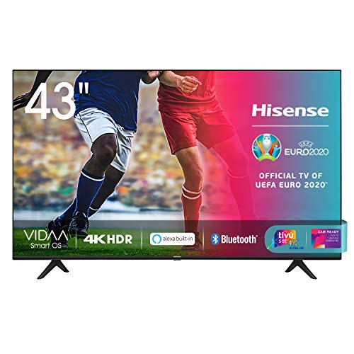 Hisense 43AE7000F, Smart TV LED Ultra HD 4K 43', HDR 10+, Dolby DTS, con Alexa integrata, Tuner DVB-T2/S2 HEVC Main10 [Esclusiva Amazon - 2020]