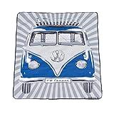 BRISA VW Collection - Volkswagen Furgoneta Hippie Bus T1 Van Manta de Picnic Grande con Bolsa de Transporte, Alfombra Plegable y Impermeable, Toalla para Playa/Outdoor/Camping/Regalo (Rayas/Azul)