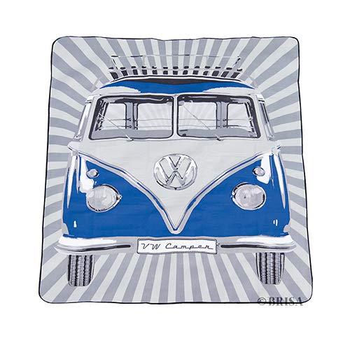 BRISA VW Collection - Volkswagen T1 Bulli Bus Picknick-Decke mit Tragetasche, Feuchtigkeitsfest & Robust (200x150cm/Blau)