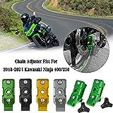 Motorcycle Chain Adjuster Blocks Tensioners Catena Rear Axle Positioning Indicator Guard Protector Kit for Kawasaki Ninja 400 250 Ninja400 Ninja250 Accessories 2018 2019 2020 2021 18-21 (Green)