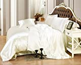 TheSignature Ivory Satin Sheet Set 6-Piece 18 Inch (1 Flat Sheet, 1 Fitted, 4 Pillowcases) Olympic Queen