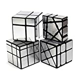 ★★This is a magic cube combination from easy to difficult. This set includes ( 1×3×3 Floppy Cube 2×2 Magic Cube 3×3 Windmill Cube and 3×3 Mirror Cube) ★★Mirror cube, each surface of the cube has a silvery sticker. It's shiny and has a very good textu...