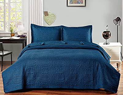 Bedspread Set - 3 Piece Luxurious Soft Brushed Microfiber Coverlet set - Quilted Embroidery Over sized Bed-Cover