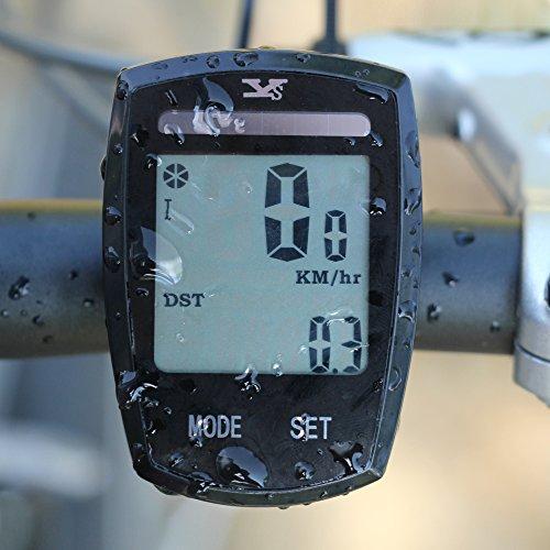 Foxpic Touchscreen Ciclocomputer Wireless, Tachimetro, Contachilometri per Bici/Bicicletta dell'Odometro del Calcolatore Retroilluminazione Multifunzione Impermeabile l'energia solare Automatica