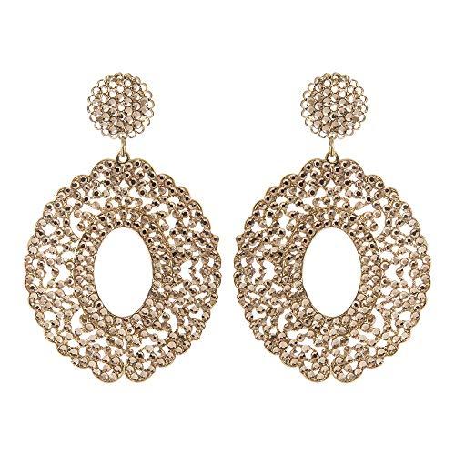 Sodini - Pendientes con colgante ovalado de oro y pedrería rosa claro