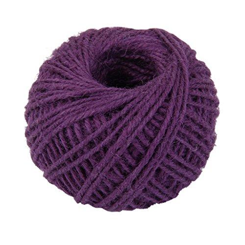 AK.SSI Corde en chanvre pour emballage cadeau, corde à boule, bricolage, décoration, bouteille en verre, 1 pièce, taille 50 m (violet)