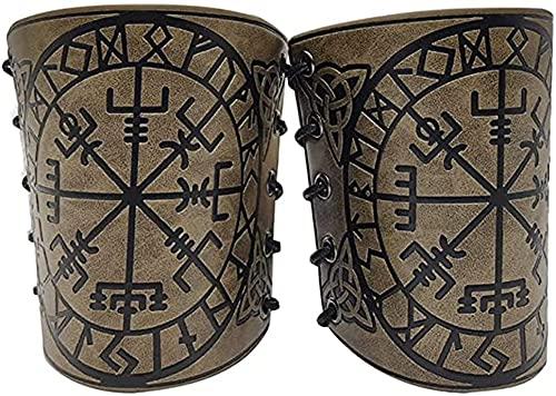 YFGlgy Nórdico Viking Vegvisir Brazo En Relieve Brazales De Cuero Medieval PU De Cuero Guardias Kit Punk Armadura De Cuero En Relieve Pulsera De La Armadura,C