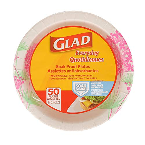 Glad 8 1/2-Inch Round Paper Plates | Soak Proof Cut Resistant Microwavable Disposable Paper Plates for Everyday Use | White Paper Plates with Pink Floral Design, Heavy Duty Paper Plates 50ct
