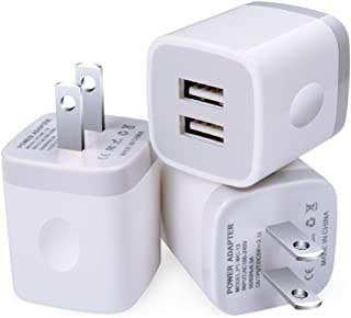 USB Wall Charger, 3-Pack 2.1A 2-Port USB Wall Plug Power Adapter Charging Block Cube for iPhone X 8 Plus 7 6 Plus 6S, iPad, Samsung Galaxy S9 S8 S7 S6 Edge, LG G7 V35 ThinQ, HTC, Google Pixel 2 XL