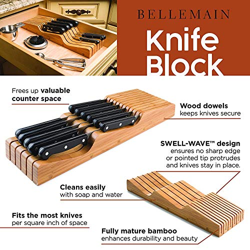 Bellemain 100% Pure Bamboo in Drawer Knife Block, Knife Organizer