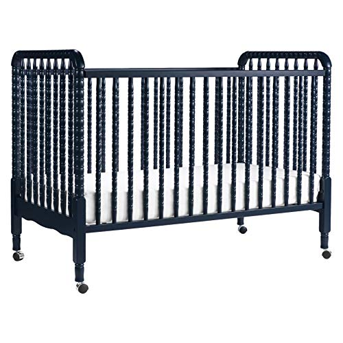 DaVinci Jenny Lind 3-in-1 Convertible Portable Crib in Navy - 4 Adjustable Mattress Positions, Greenguard Gold