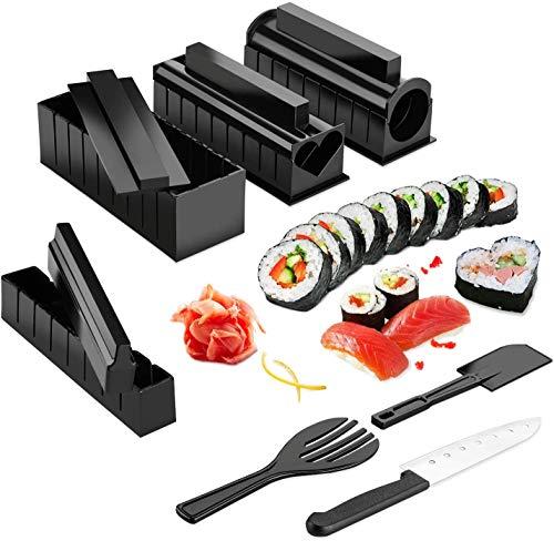 Kit de fabrication de sushi 11 pièces - Kit de fabrication de sushis - Rouleau de sushi - Moule à rouleau de riz inclus - Couteau Sashimi - Facile à utiliser