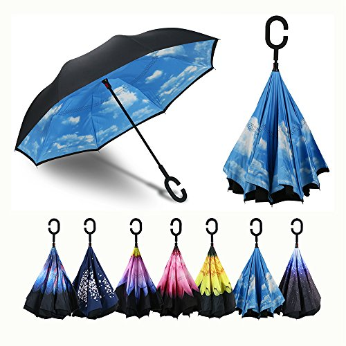 Procella Inverted Umbrella, Large Windproof Double Layer Canopy, Reverse Umbrellas for Car, Rain, Sun and Outdoor Use, Hands-Free C-Shaped Handle, UV Protection