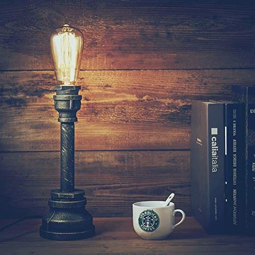 YUENSLIGHTING Lámpara de mesa rústica de estilo industrial vintage, accesorio de iluminación...