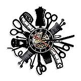 Reloj de Pared de Vinilo Vintage Máquina de Coser Silueta decoración del hogar Handmade Amueblar Hogar Oficina Obras de Arte Hechas a Mano