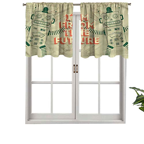 Hiiiman Blackout Short Curtain Panels Rod Pocket Futuristic Image of Robots, Set of 2, 54'x24' Small Half Window Valances for Bedroom