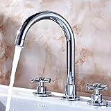 Europeo de tres piezas lavabo grifo baño lavabo doble manija Split cobre caliente y fría agua tres agujeros elegante