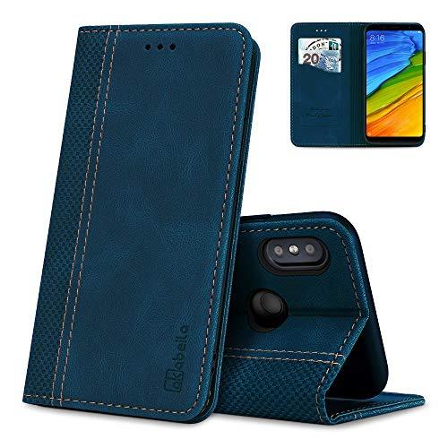 AKABEILA Redmi Note 5 Hülle Leder, Xiaomi Redmi Note 5 Handyhülle Silikon, Kompatibel für Apple Xiaomi Redmi Note 5 Schutzhülle Brieftasche Klapphülle PU Magnetverschluss Kartenfächer Hüllen, Blau