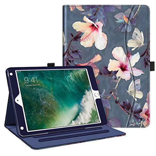 FINTIE Custodia per iPad 9.7 Pollici 2018 2017, iPad Air 2, iPad Air - [Multi-angli] Folio Pieghevole Cover Protettiva Case Auto Sveglia/Sonno (con Tasca per le Schede), Blooming Hibiscus