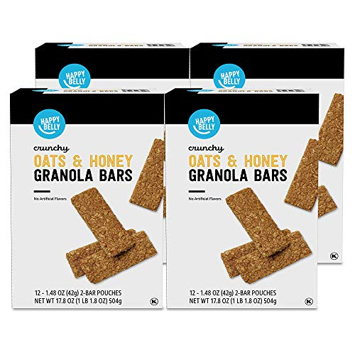 Amazon Brand - Happy Belly Crunchy Oats & Honey Granola Bars, 12 Count (Pack of 4)