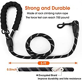 Heritage 5FT Strong Rope Dog Lead Leash Dogs Leads with Reflective Threads and Comfortable Padded Handle Training Walking Pulling Support Small, Medium, Large Dogs Nylon