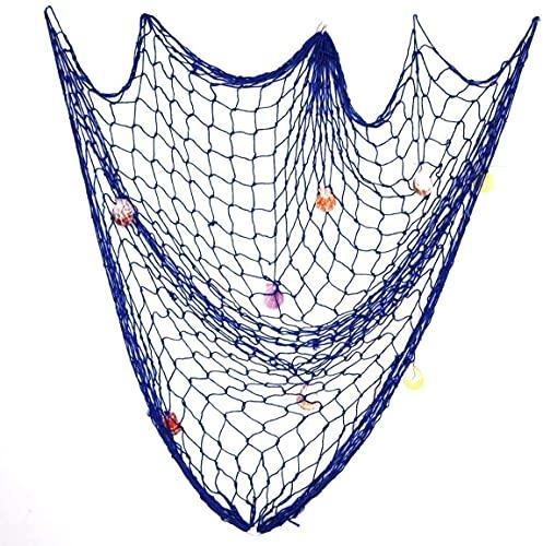Shiwaki 1Mx2M Red de Pesca Decorativa de Estilo mediterráneo,Red de decoración de Pared Marina,Red de Pesca náutica con Conchas Marinas para decoración del hogar,Azul