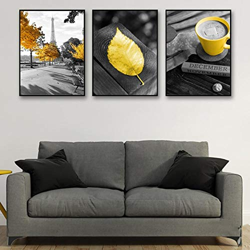 LZHNB Yellow Leaf Canvas Painting Paris Tower Canvas Prints Cappuccino Posters and Prints-50x70cmx3 pcs no Frame