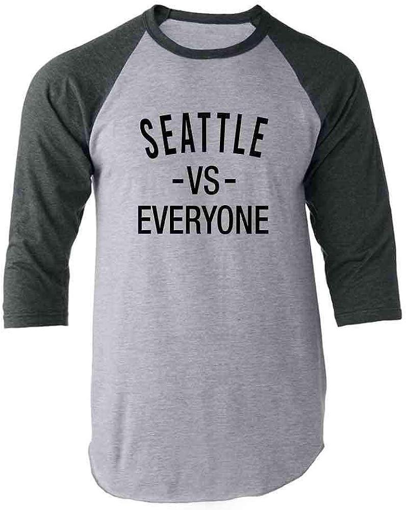 Pop Threads Seattle vs Everyone Washington Sports Fan Raglan Baseball Tee Shirt