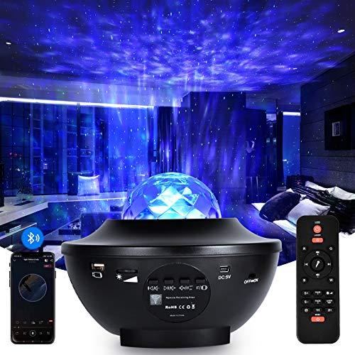 TYCOLIT LED Sternenhimmel Projektor, Sternenlicht Projektor Nachtlicht mit Starry Stern/Wasserwellen Welleneffekt/Fernbedienung/Bluetooth Lautsprecher & Timer Galaxy Light für kind Dekoration Party