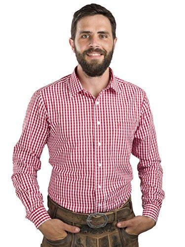 Schöneberger Trachten Couture Trachtenhemd Slim fit kariert - Hemd Oktoberfest & Freizeit Karo rot oder blau (XL, Rot/Weiss)