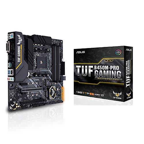 ASUS TUF B450M-PRO Gaming - Placa Base de Gaming mATX AMD B450 con iluminación Aura Sync RGB LED, Soporte de DDR4 3553 MHz, Dos M.2 y USB 3.1 Gen. 2 Nativo, soporta Ryzen 3000