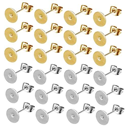 Kit Orecchini Piatto 100 Pezzi Piatto Orecchini A Bottone Orecchini A Perno Piatto Parte Posteriore Dell'Orecchino Orecchini Piatti Fai Da Te Per La Creazione Di Gioielli Con Orecchini
