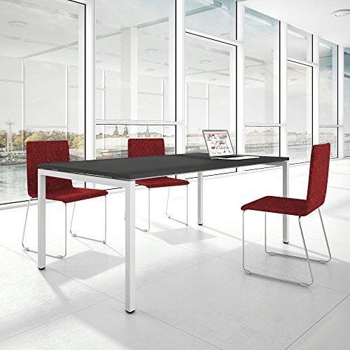 Weber Büro Profi Besprechungstisch 200x100cm NOVA U 4-8 Pers. Konferenztisch Meetingtisch, Gestellfarbe:Weiß