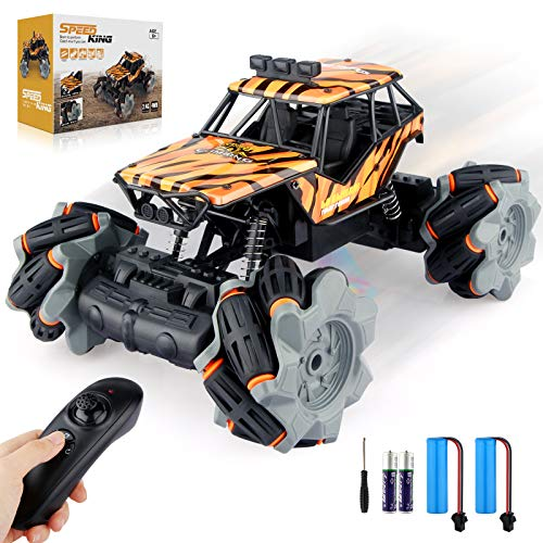 Growsly Remote Control Car, High Speed RC Car for Kids Adults 1:18 Scale 2.4 GHz 360° Spins Off Road Hobby RC Truck Racing Monster Vehicle with 4 Batteries , Drift Toy Car for Boys & Girls Gifts