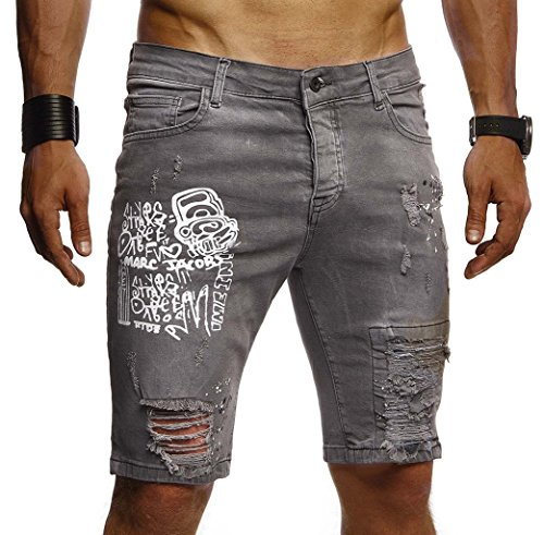 Leif Nelson Herren Männer Jungen Sommer Kurze Biker Jogger Jeans Hose Shorts Jeanshose Chinos Cargo Bermuda Basic 5-Pocket Destroyed Used Stretch Freizeithose Denim Slim Fit LN1970; W31; Grau