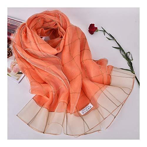 XinFeier Vrouwen lichtgewicht moerbeizijden sjaal dubbele geruit sjaal badhanddoek Flower Soft