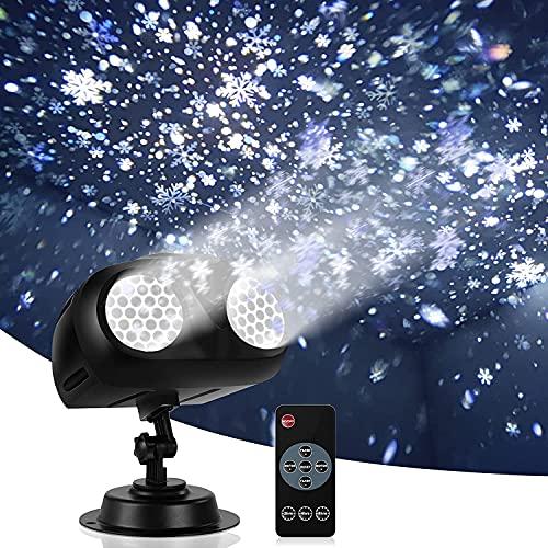 LUOWAN Proiettore Luci Natale LED Natalizia, Caduta Della Neve Proiettore con Telecomando, Effetto Fiocco di Neve Proiezione Lampada per Natale, Matrimonio, Festa